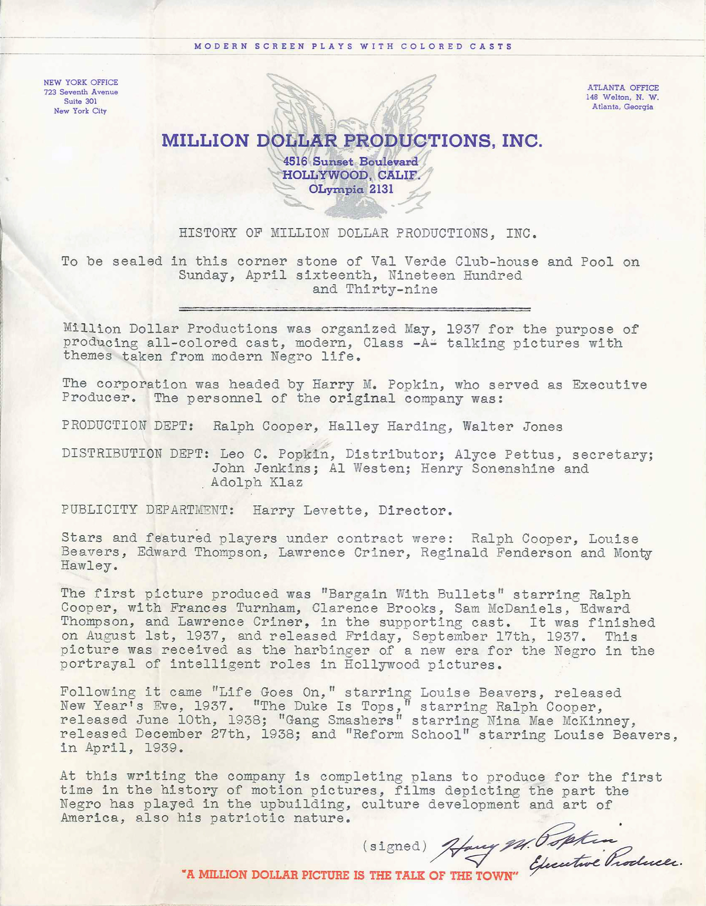 scvhistorycom cp3908 val verde history of million dollar productions written for cornerstone time capsule 4 16 1939