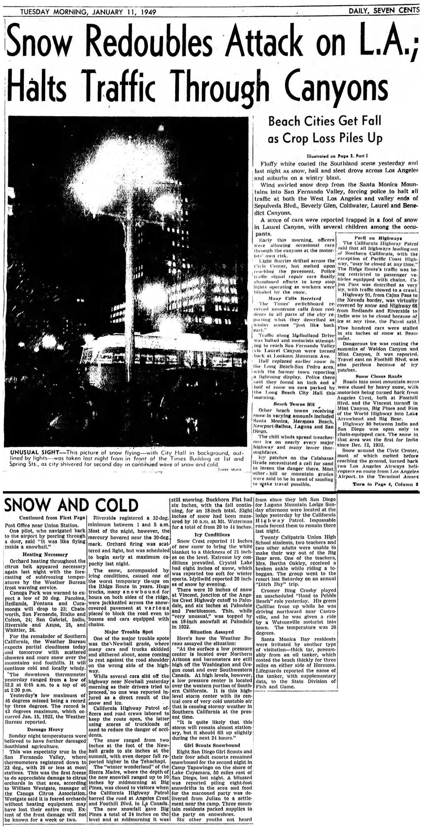 SCVHistory com | Nature | Winter 1948-49: Snow, Frost Cripple Southland