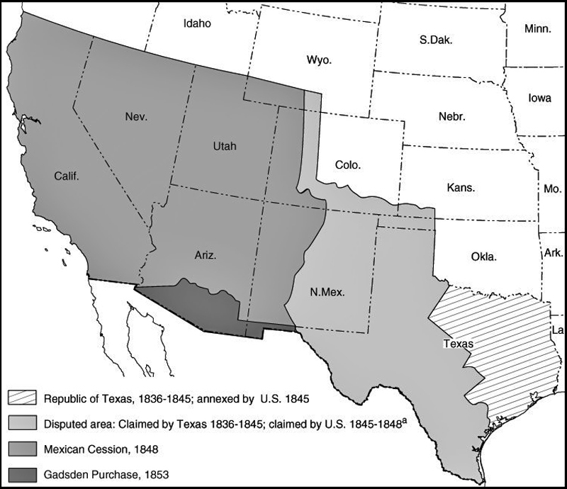 SCVHistorycom LW Manifest Destiny Annexation Of - Map of south western us