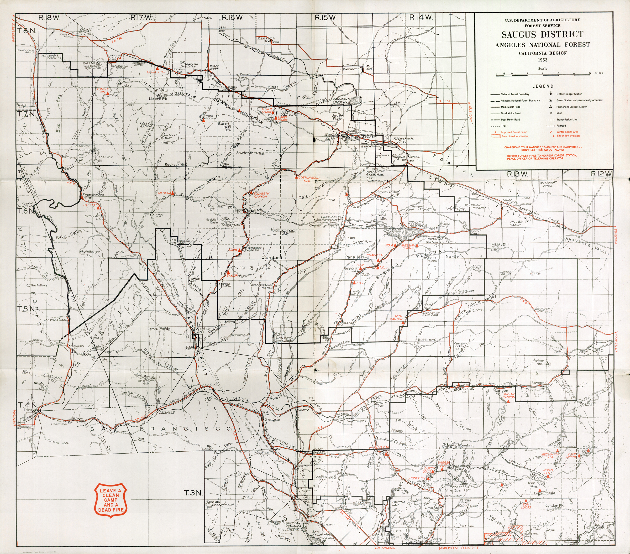 SCVHistorycom LW Maps Saugus District Angeles National - Map of colorado national forests