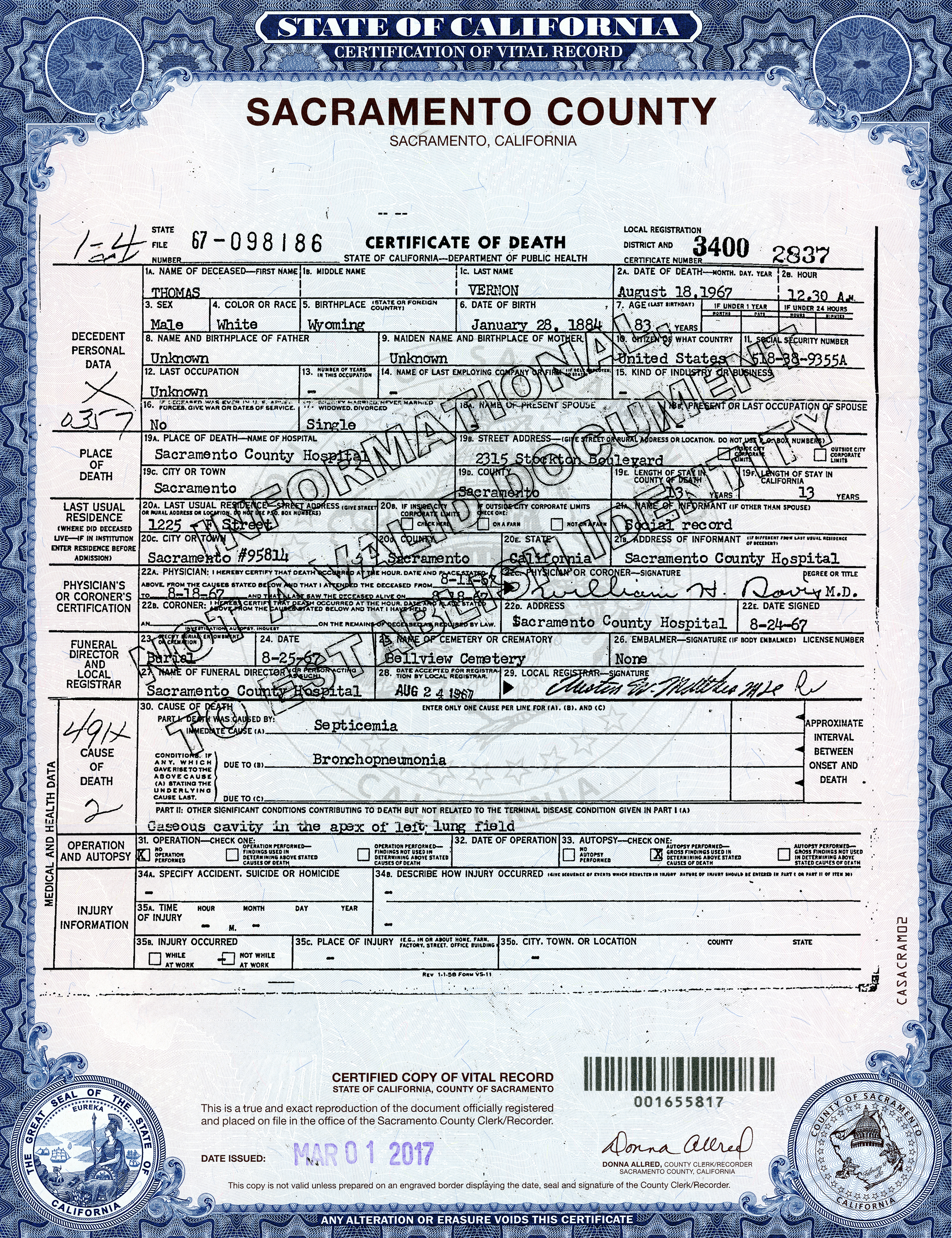 Scvhistory lw2913 obituaries death certificate tom vernon click image to enlarge 1betcityfo Choice Image