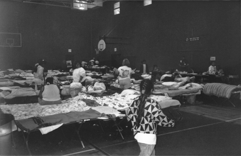 Red Cross Shelter at Newhall Boys and Girls Club - 1994 Northridge Earthquake - Courtesy SCVHistory.com