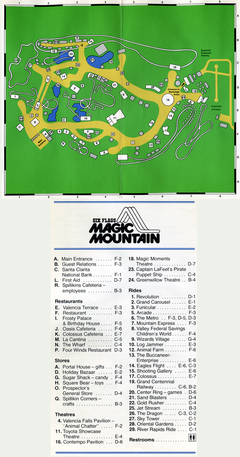 SCVHistory.com SR8103 | Magic Mountain | 1981 Park Map on woodley park map, cedar point park map, red mountain park map, hurricane harbor valencia map, six flags park map, point reyes park map, six flags valencia map, san francisco park map, mammoth mountain park map, magic park california, copper mountain park map, six flags new england map, magic midway map, san diego park map,