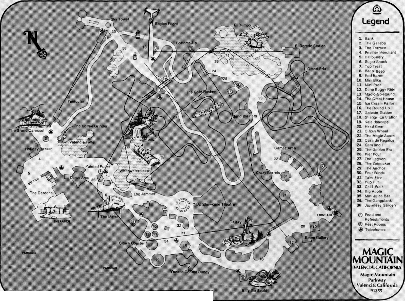 SCVHistory.com SR9613 | Magic Mountain | Park Map, 1971 on land of make believe map, islands of adventure map, six flags new jersey map, carowinds map, kings island map, great america map, knotts berry farm map, mt. olympus water & theme park map, cedar point map, new orleans six flags park map, busch gardens map, ghost town in the sky map, michigan's adventure map, blackpool pleasure beach map, raging waters map, magic kingdom map, 2014 six flags nj map, 2014 six flags chicago map, thorpe park map, disneyland map,