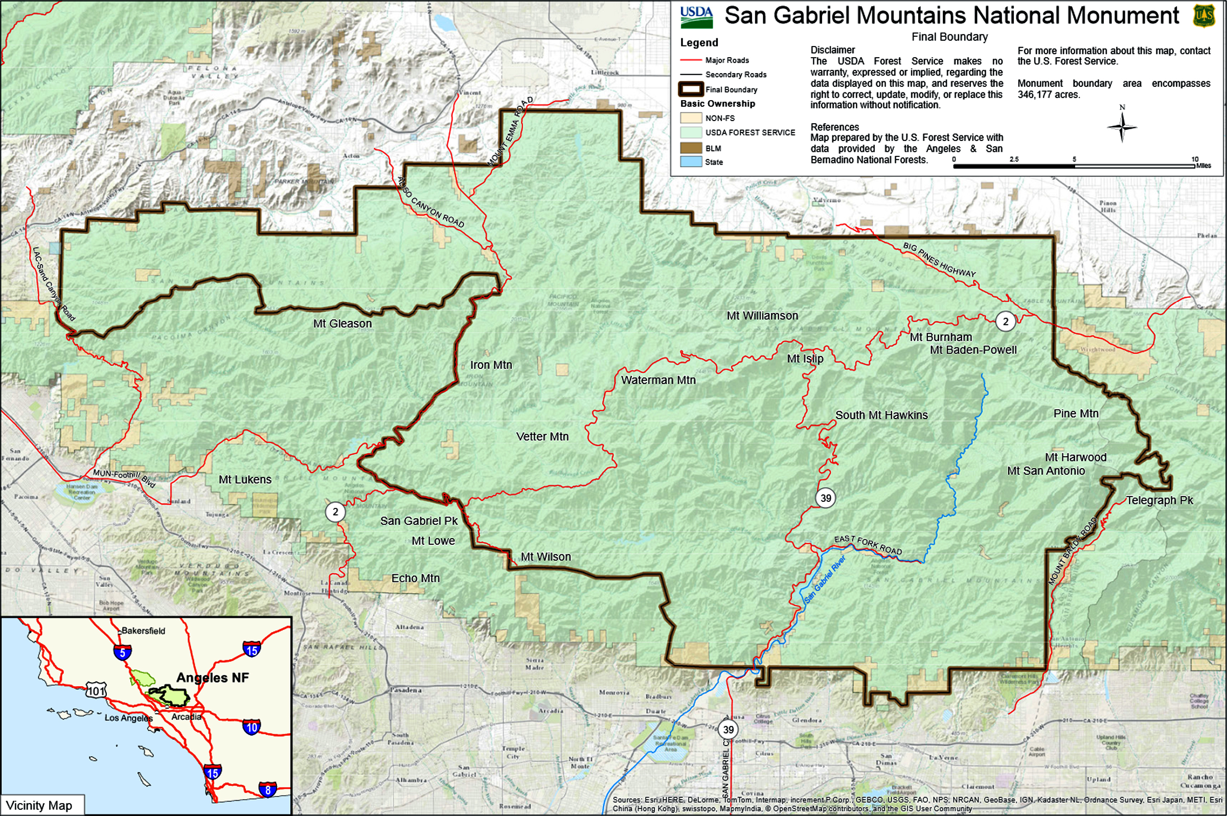 Azusa Canyon Fire Map.Scvhistory Com San Gabriels Map Of San Gabriel Mountains